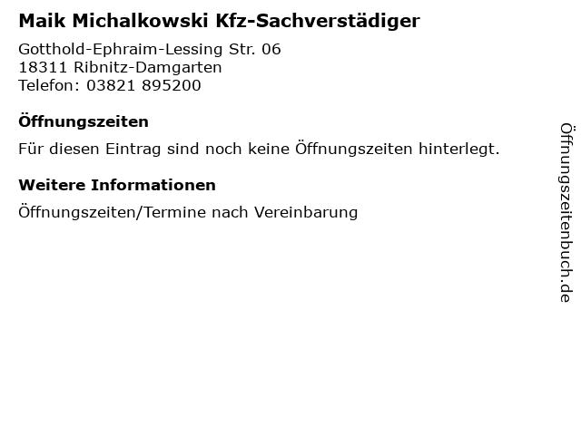 Maik Michalkowski Kfz-Sachverstädiger in Ribnitz-Damgarten: Adresse und Öffnungszeiten