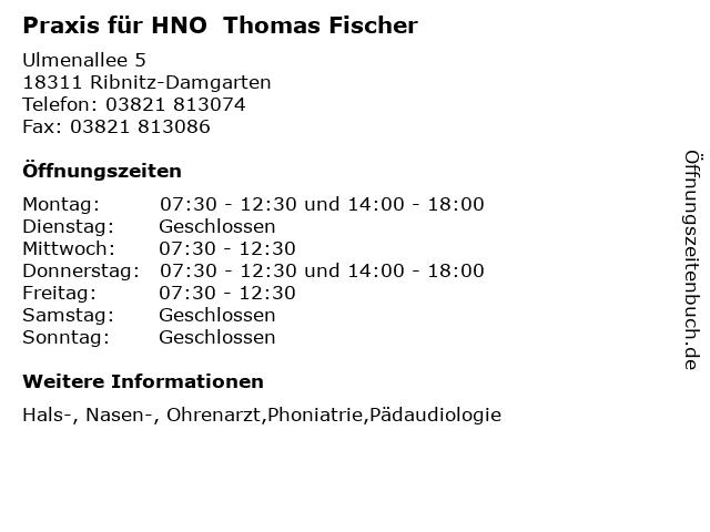 Praxis für HNO  Thomas Fischer in Ribnitz-Damgarten: Adresse und Öffnungszeiten