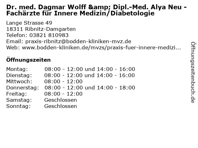 Praxis für Innere Medizin Alya Neu in Ribnitz-Damgarten: Adresse und Öffnungszeiten