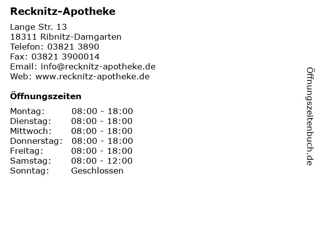Recknitz-Apotheke in Ribnitz-Damgarten: Adresse und Öffnungszeiten