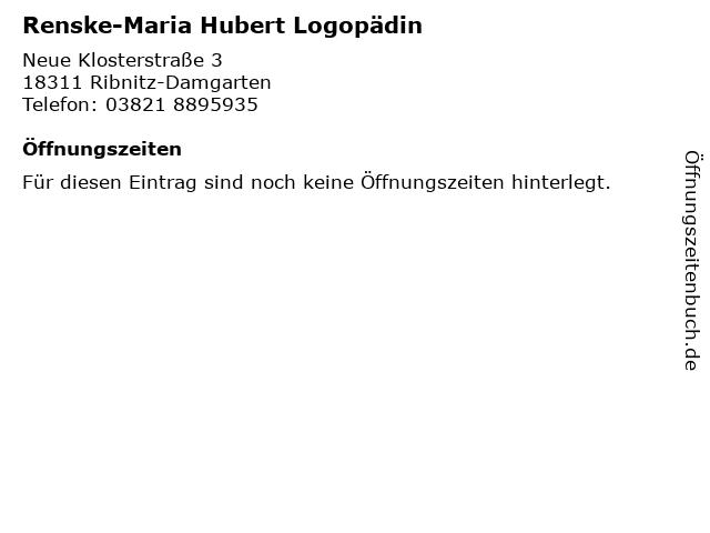 Renske-Maria Hubert Logopädin in Ribnitz-Damgarten: Adresse und Öffnungszeiten