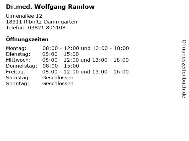 Dr.med. Wolfgang Ramlow in Ribnitz-Dammgarten: Adresse und Öffnungszeiten