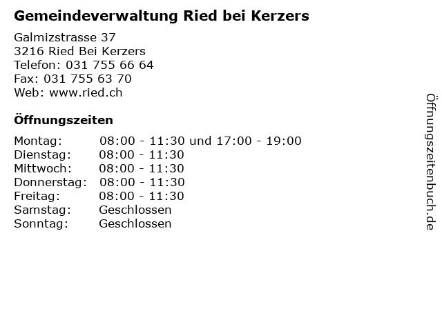 Gemeindeverwaltung Ried bei Kerzers in Ried Bei Kerzers: Adresse und Öffnungszeiten
