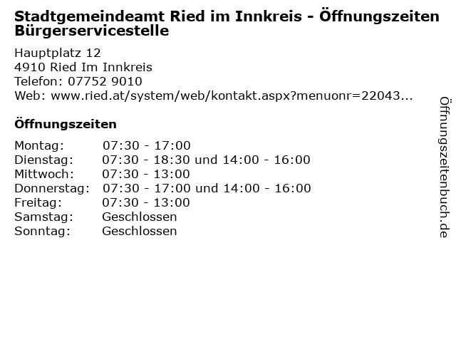 Stadtgemeindeamt Ried im Innkreis - Öffnungszeiten Bürgerservicestelle in Ried Im Innkreis: Adresse und Öffnungszeiten