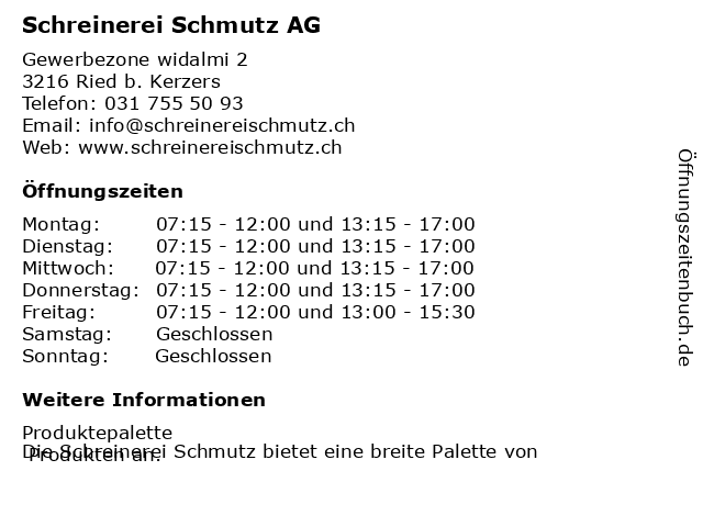 Schreinerei Schmutz AG in Ried b. Kerzers: Adresse und Öffnungszeiten