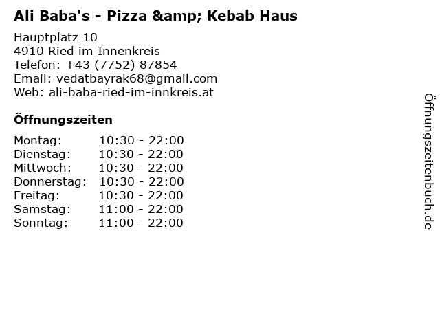 Ali Baba's - Pizza & Kebab Haus in Ried im Innenkreis: Adresse und Öffnungszeiten