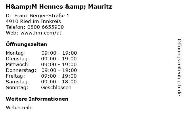 H&M Hennes & Mauritz in Ried im Innkreis: Adresse und Öffnungszeiten