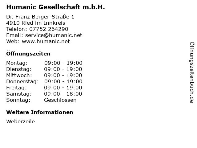 Humanic Gesellschaft m.b.H. in Ried im Innkreis: Adresse und Öffnungszeiten