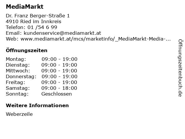 MediaMarkt in Ried im Innkreis: Adresse und Öffnungszeiten