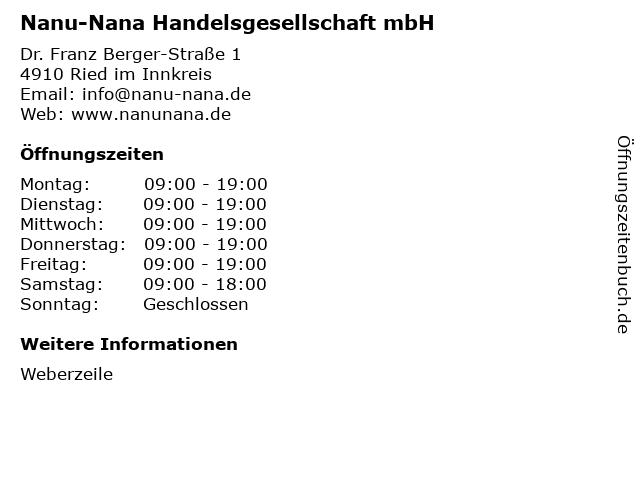 Nanu-Nana Handelsgesellschaft mbH in Ried im Innkreis: Adresse und Öffnungszeiten