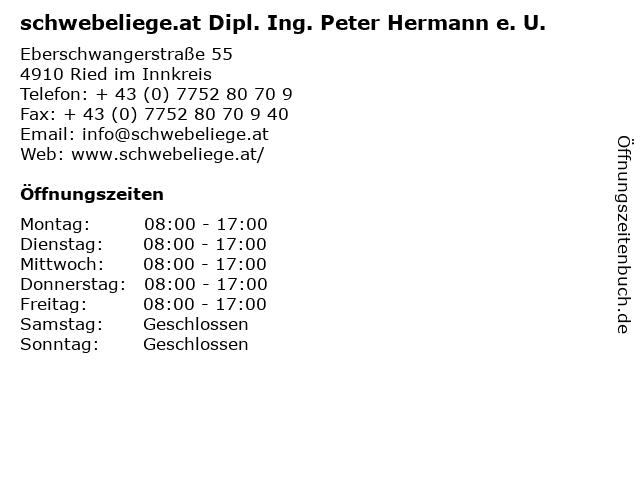 schwebeliege.at Dipl. Ing. Peter Hermann e. U. in Ried im Innkreis: Adresse und Öffnungszeiten