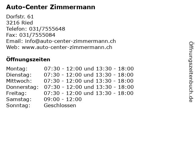 Auto-Center Zimmermann in Ried: Adresse und Öffnungszeiten