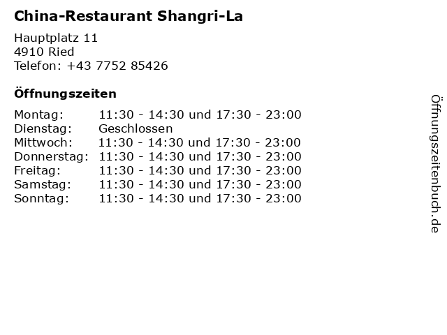 China-Restaurant Shangri-La in Ried: Adresse und Öffnungszeiten