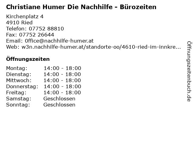 Christiane Humer Die Nachhilfe - Bürozeiten in Ried: Adresse und Öffnungszeiten