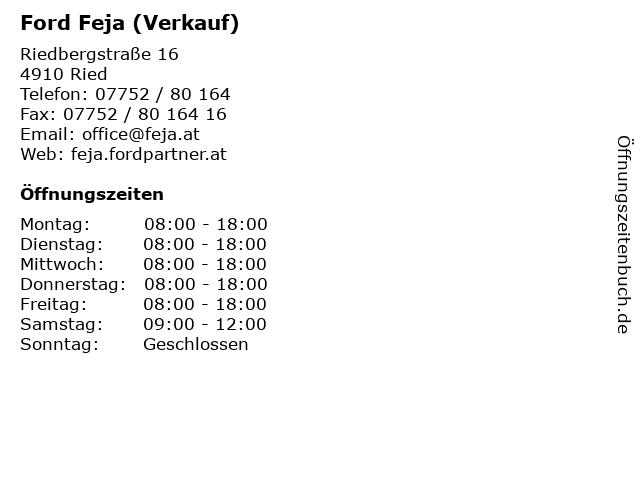 Ford Feja (Verkauf) in Ried: Adresse und Öffnungszeiten