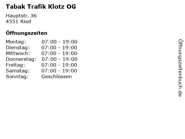 Tabak Trafik Klotz OG in Ried: Adresse und Öffnungszeiten