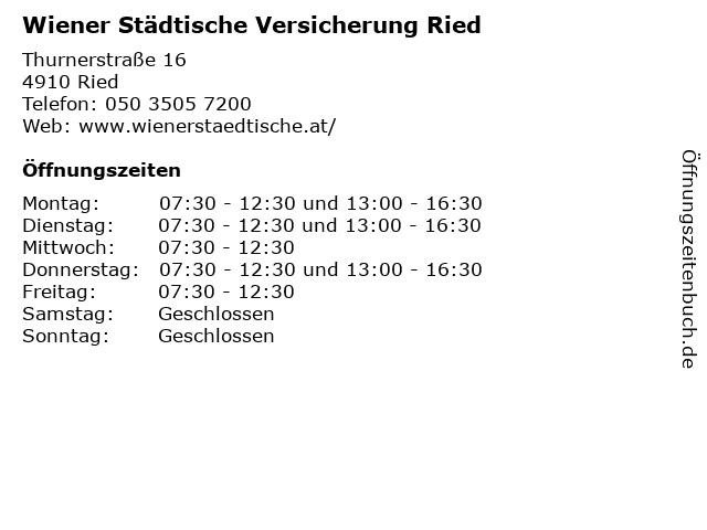 Wiener Städtische Versicherung Ried in Ried: Adresse und Öffnungszeiten