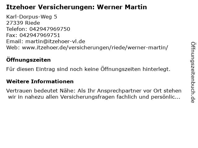 Itzehoer Versicherungen: Werner Martin in Riede: Adresse und Öffnungszeiten