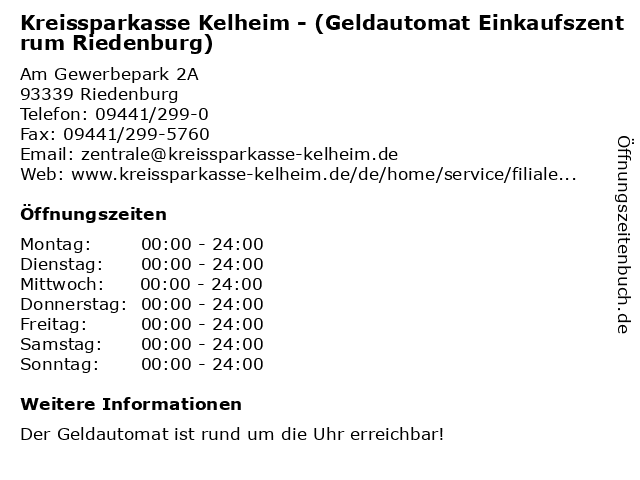 Kreissparkasse Kelheim - (Geldautomat Einkaufszentrum Riedenburg) in Riedenburg: Adresse und Öffnungszeiten