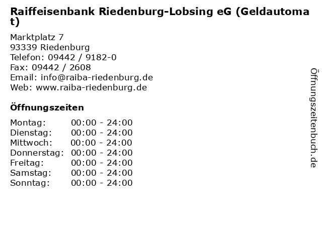 Raiffeisenbank Riedenburg-Lobsing eG (Geldautomat) in Riedenburg: Adresse und Öffnungszeiten