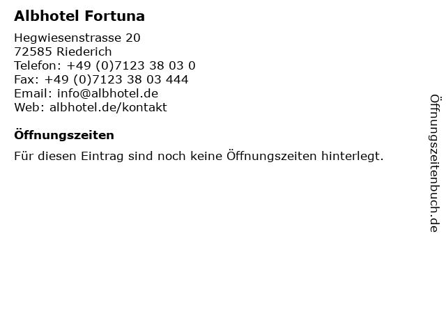 Albhotel Fortuna in Riederich: Adresse und Öffnungszeiten