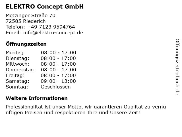 ELEKTRO Concept GmbH in Riederich: Adresse und Öffnungszeiten