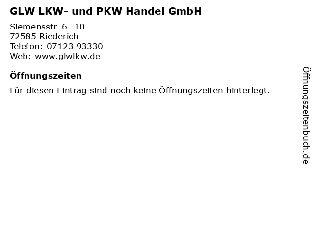 GLW LKW- und PKW Handel GmbH in Riederich: Adresse und Öffnungszeiten