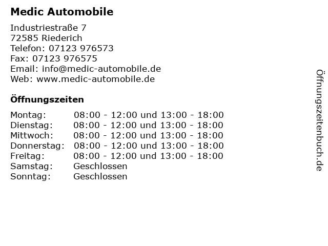 Medic Automobile in Riederich: Adresse und Öffnungszeiten