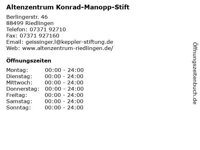 Altenzentrum Konrad-Manopp-Stift in Riedlingen: Adresse und Öffnungszeiten