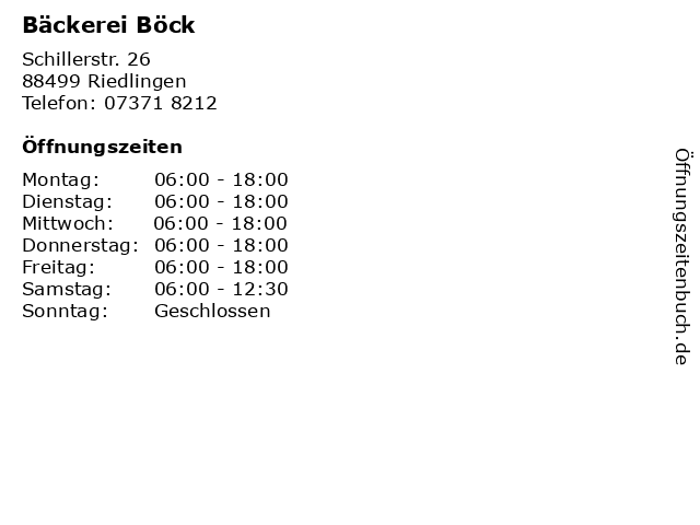 Bäckerei Böck in Riedlingen: Adresse und Öffnungszeiten