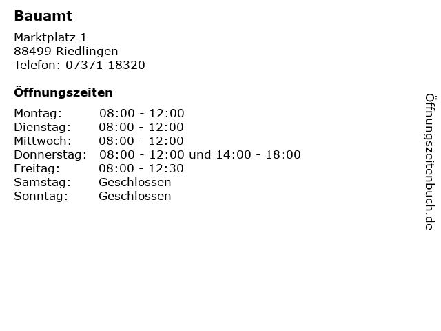 Bauamt in Riedlingen: Adresse und Öffnungszeiten