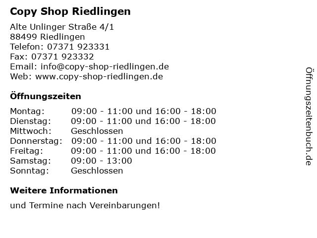 Copy Shop Riedlingen in Riedlingen: Adresse und Öffnungszeiten