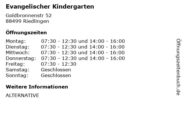 Evangelischer Kindergarten in Riedlingen: Adresse und Öffnungszeiten