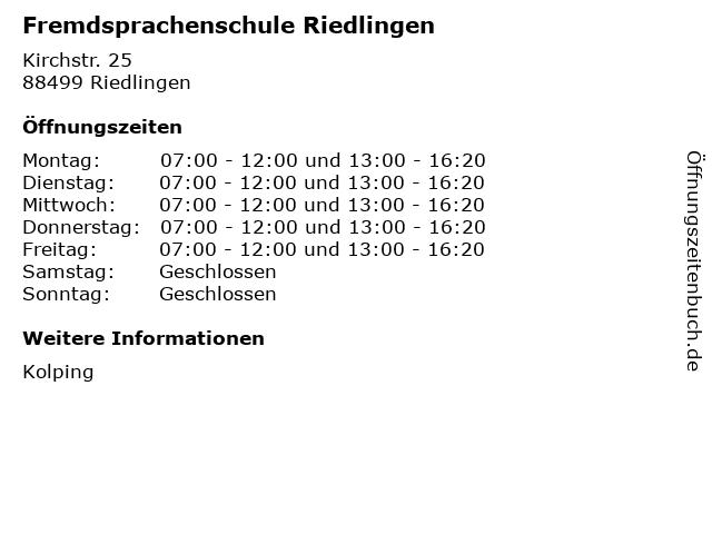Fremdsprachenschule Riedlingen in Riedlingen: Adresse und Öffnungszeiten