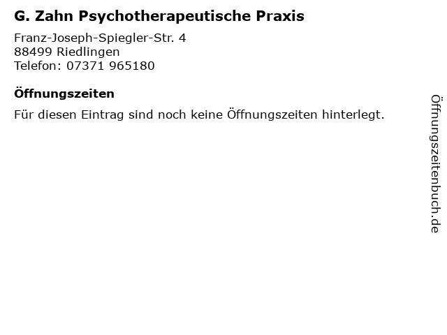 G. Zahn Psychotherapeutische Praxis in Riedlingen: Adresse und Öffnungszeiten
