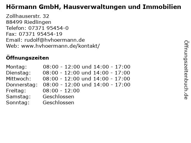 Hörmann GmbH, Hausverwaltungen und Immobilien in Riedlingen: Adresse und Öffnungszeiten