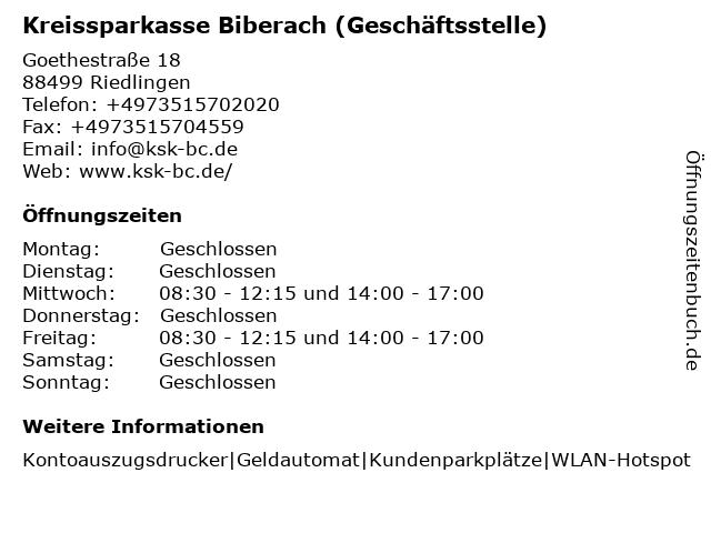 Kreissparkasse Biberach - Geschäftsstelle Riedlingen - Goldbronnen in Riedlingen: Adresse und Öffnungszeiten
