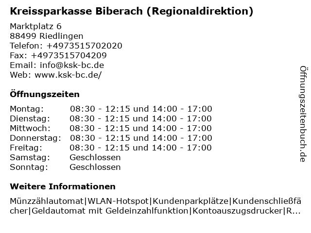 Kreissparkasse Biberach - Regionaldirektion Riedlingen in Riedlingen: Adresse und Öffnungszeiten