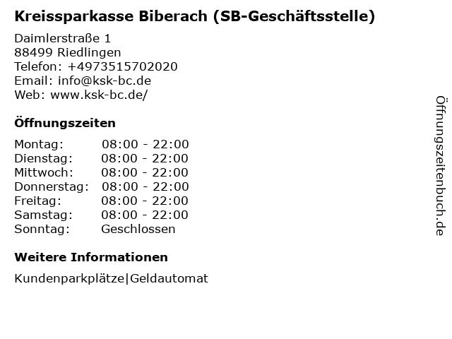 Kreissparkasse Biberach - (Geldautomat Marktkauf Riedlingen) in Riedlingen: Adresse und Öffnungszeiten
