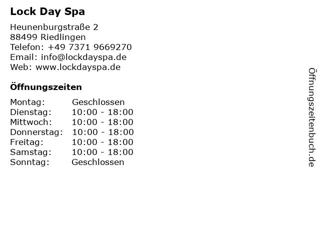 Lock Day Spa in Riedlingen: Adresse und Öffnungszeiten