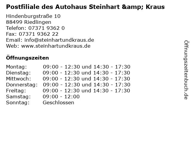 Postfiliale des Autohaus Steinhart & Kraus in Riedlingen: Adresse und Öffnungszeiten
