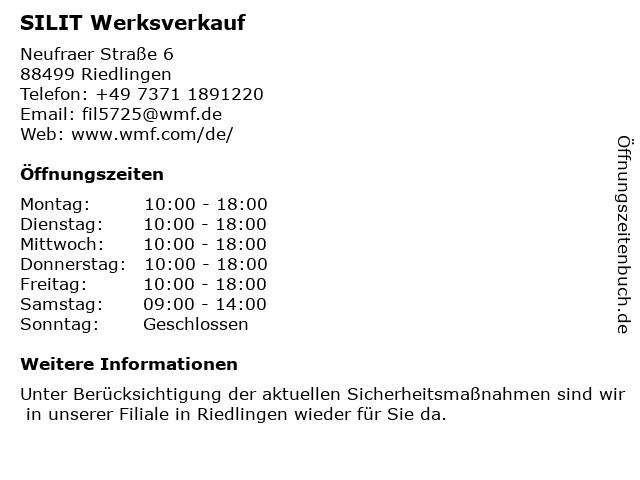 SILIT in Riedlingen: Adresse und Öffnungszeiten