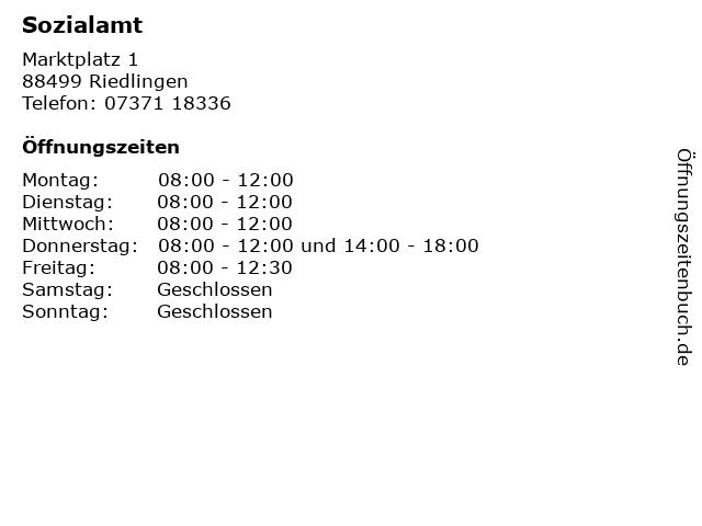 Sozialamt in Riedlingen: Adresse und Öffnungszeiten