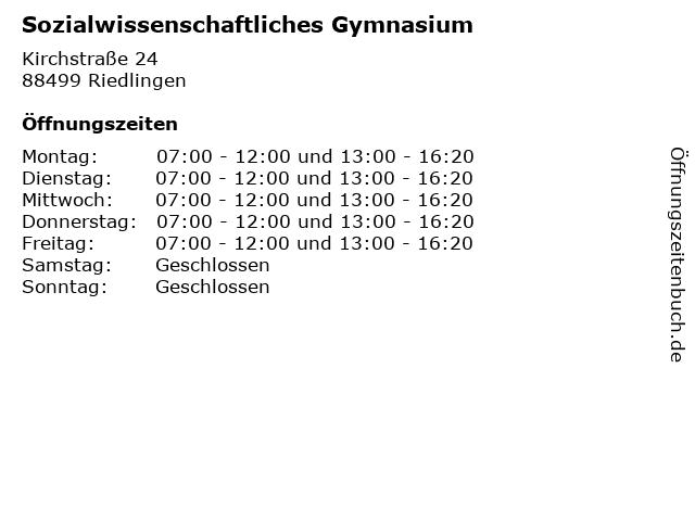 Sozialwissenschaftliches Gymnasium in Riedlingen: Adresse und Öffnungszeiten