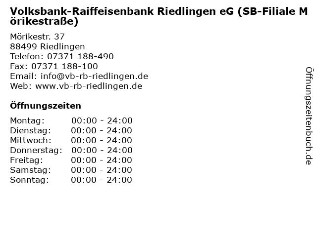 Volksbank-Raiffeisenbank Riedlingen eG (SB-Filiale Mörikestraße) in Riedlingen: Adresse und Öffnungszeiten