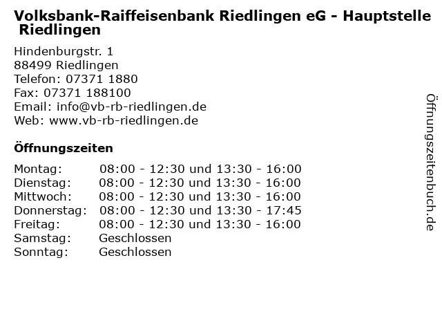 Volksbank-Raiffeisenbank Riedlingen eG - Hauptstelle Riedlingen in Riedlingen: Adresse und Öffnungszeiten