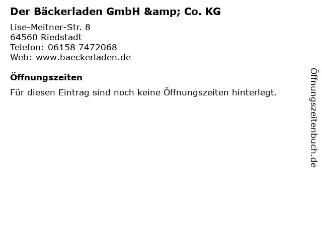 Der Bäckerladen GmbH & Co. KG in Riedstadt: Adresse und Öffnungszeiten