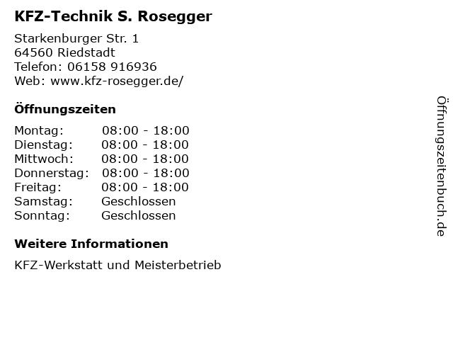 KFZ-Technik S. Rosegger in Riedstadt: Adresse und Öffnungszeiten