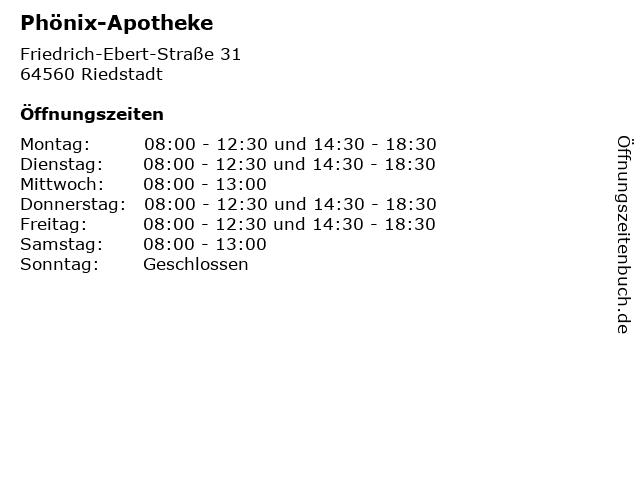 Phönix-Apotheke in Riedstadt: Adresse und Öffnungszeiten
