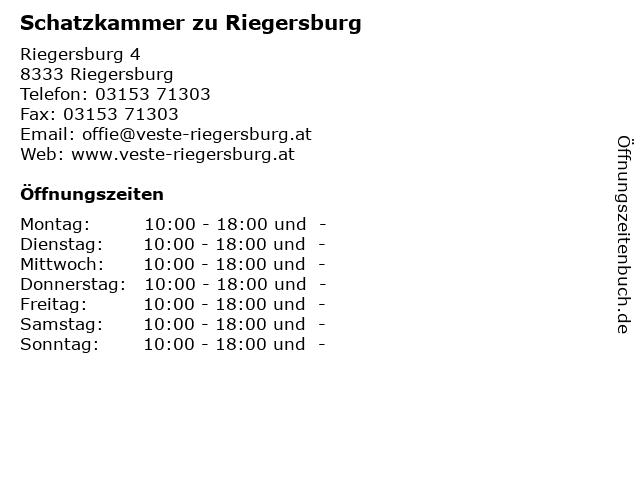 Schatzkammer zu Riegersburg in Riegersburg: Adresse und Öffnungszeiten